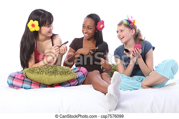 Slumber party make up games for teenage girls - csp7576099