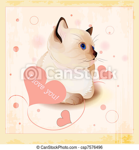 Valentines day greeting card with little siamese kitten and hearts - csp7576496