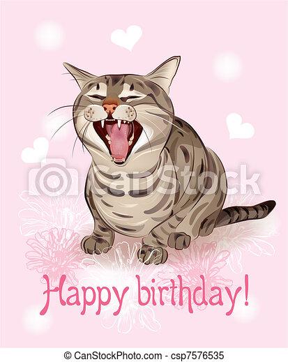 feliz, cumpleaños, tarjeta, divertido, gato, Canta, saludo, canción, rosa, Plano de fondo, con, Corazones, y, flores - csp7576535