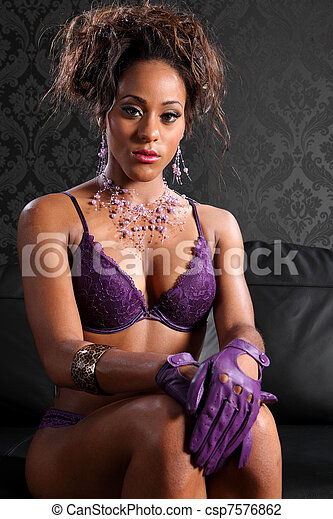 Sexy african american glamour and lingerie model - csp7576862