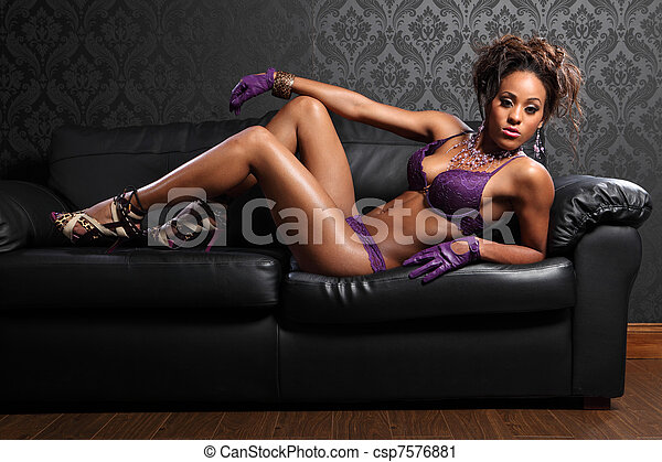 Leather and lingerie sexy african glamour model - csp7576881