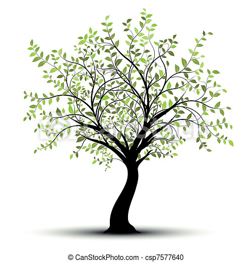 Green vector tree white background - csp7577640