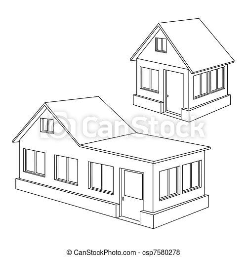 vektor von kontur haus wohnung schwarz konturen von zwei csp7580278 suchen sie nach. Black Bedroom Furniture Sets. Home Design Ideas