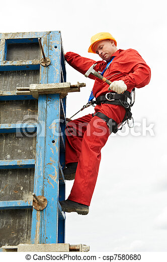 worker mounter at construction site - csp7580680