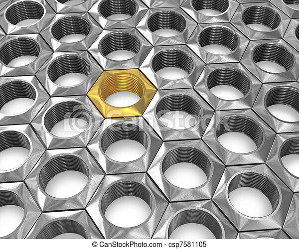 Golden screw nut among silver ones - csp7581105