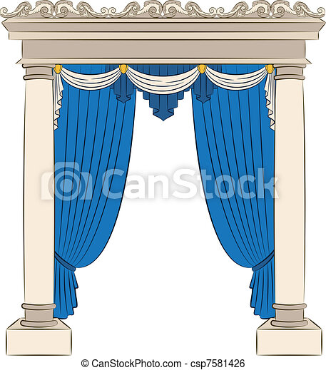 The vintage arch with curtain. - csp7581426