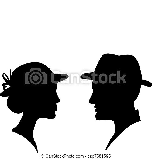 man and woman face profile silhouette, vector male female couple  - csp7581595