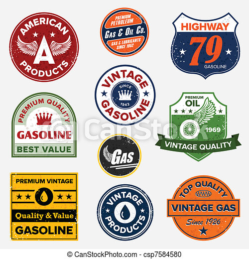 Vintage retro gas signs - csp7584580