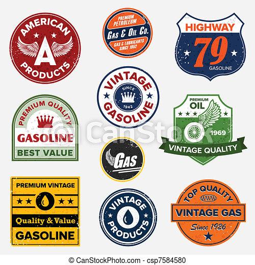 Årgång,  gas,  retro, undertecknar - csp7584580