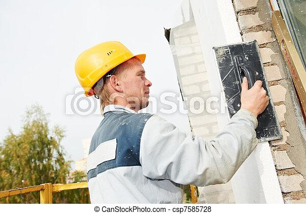 builder facade plasterer worker - csp7585728