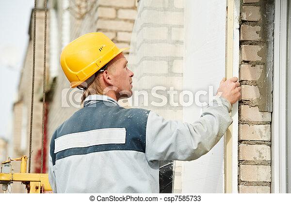 builder facade plasterer worker - csp7585733