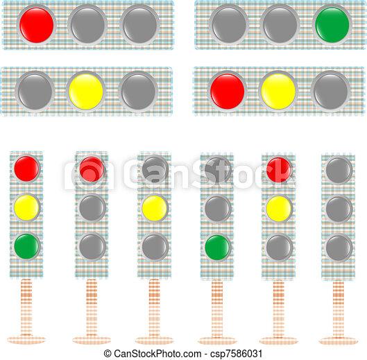 set of textile Traffic light isolated on white background. vector illustration - csp7586031
