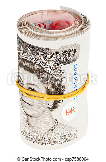 Pound sterling rolled up bank notes, isolated on white - csp7586064