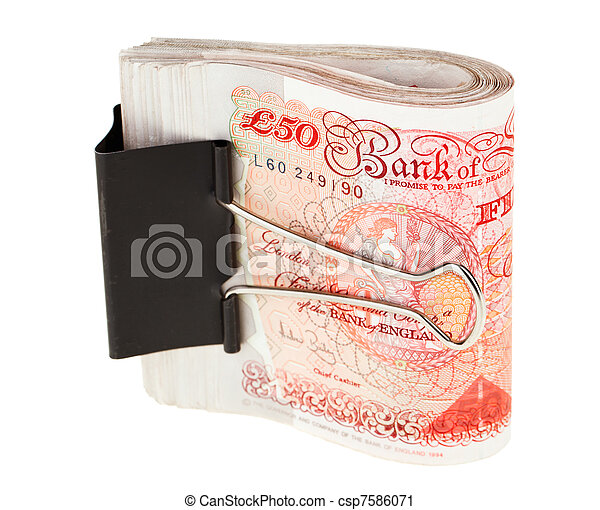 Bundle of 50 pound sterling bank notes fasten with paper clip, isolated  on white - csp7586071