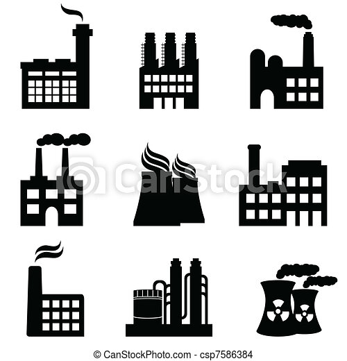 Industrial buildings, factories and power plants - csp7586384