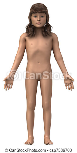 Naked girl in anatomical position isolated - whole family also available - csp7586700