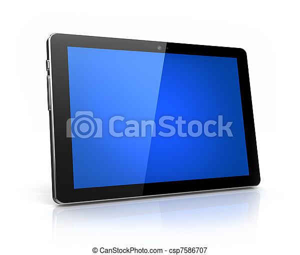Modern digital tablet with blue screen isolated - own design - csp7586707