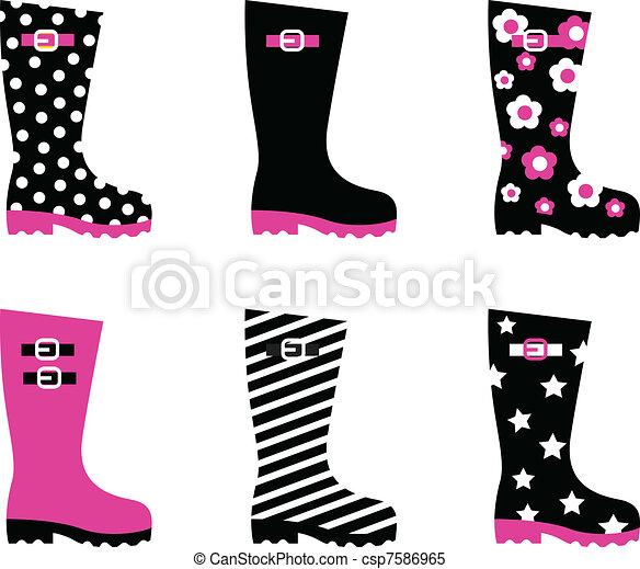Wellington rain boots isolated on white ( pink & black )   - csp7586965