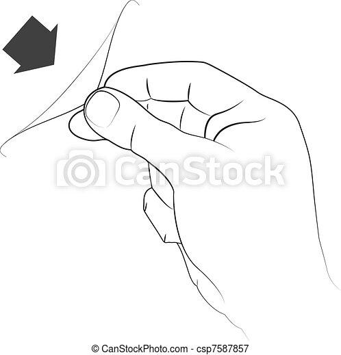 pulling a sticker - csp7587857