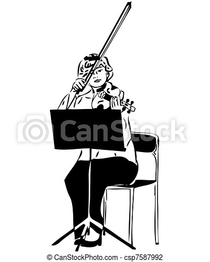 Vector Illustration of sketch of a girl playing a violin viola - a ...