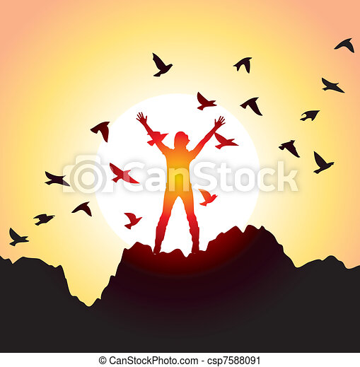 girl with raised hands and flying birds - csp7588091