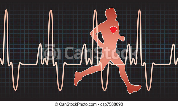 heartbeat electrocardiogram and running man - csp7588098