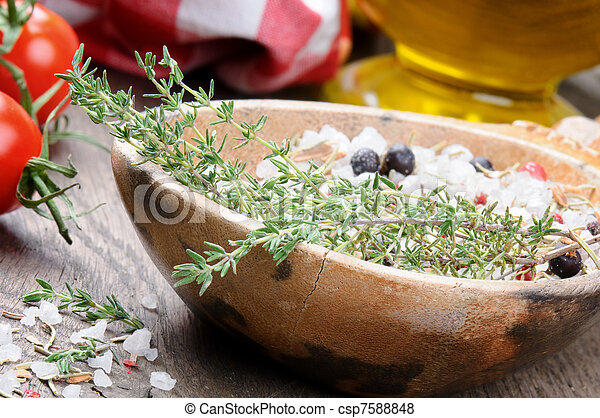 Sea salt with herbs - csp7588848