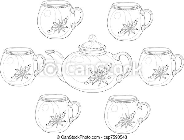 Ware, teapot and cups, set 3, contour - csp7590543