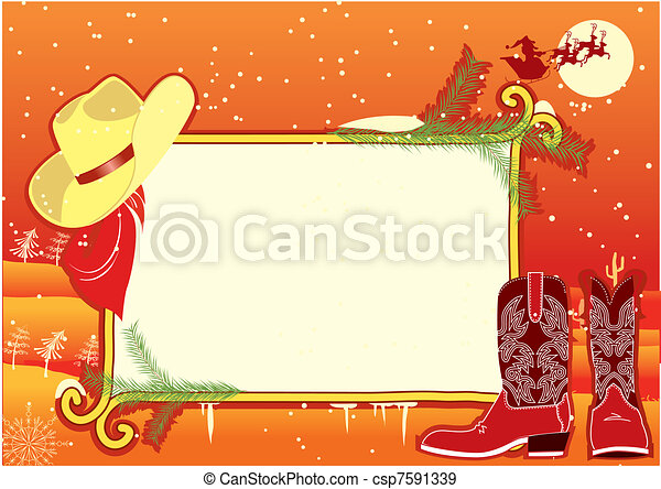 Billboard frame with cowboy hat and boots.Vector christmasn background - csp7591339