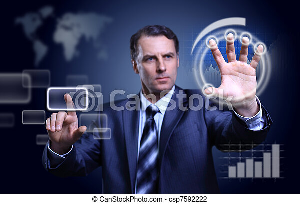Businessman pressing high tech type of modern buttons on a virtual background - csp7592222