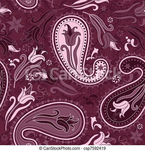 Purple repeating floral pattern - csp7592419