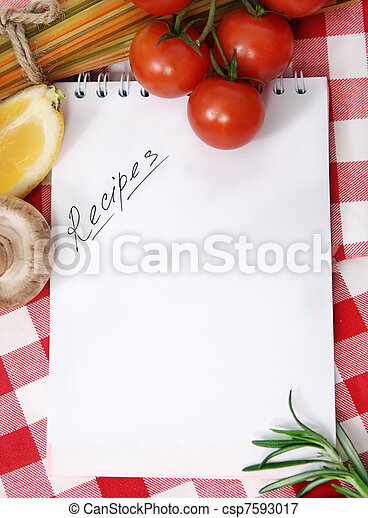 Vegetables still life with recipes blank