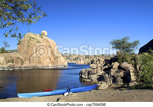 Scenic Lake and kayak - csp7594098
