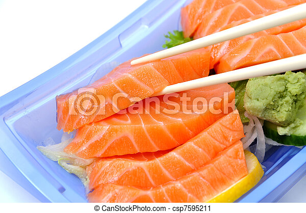 Eating salmon sushi - csp7595211