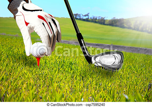 Golfer in a green field