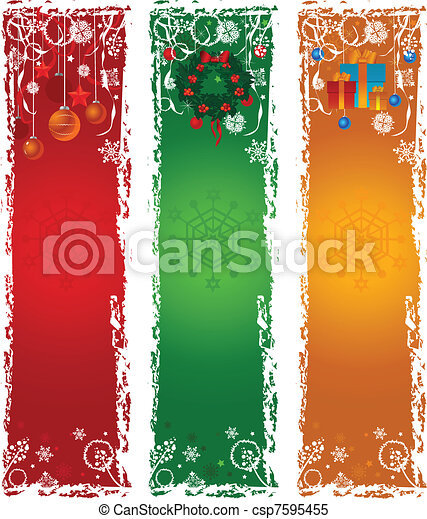 Three vertical Christmas banners - csp7595455