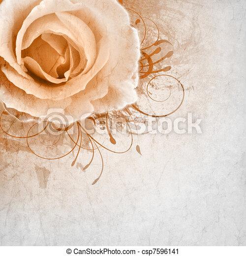 Stock Illustration beige wedding background with roses