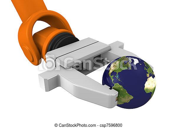 Robotic arm holding globe - csp7596800