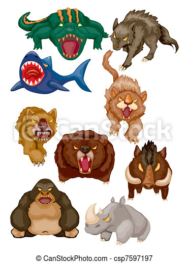 Vectors Illustration of cartoon angry animal icons ...