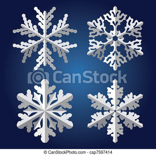 origami snowflakes - csp7597414