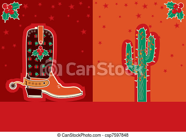 Cowboy christmas card with boot and cactus - csp7597848