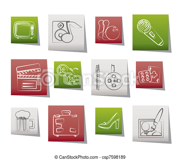 Leisure activity and objects icons  - csp7598189