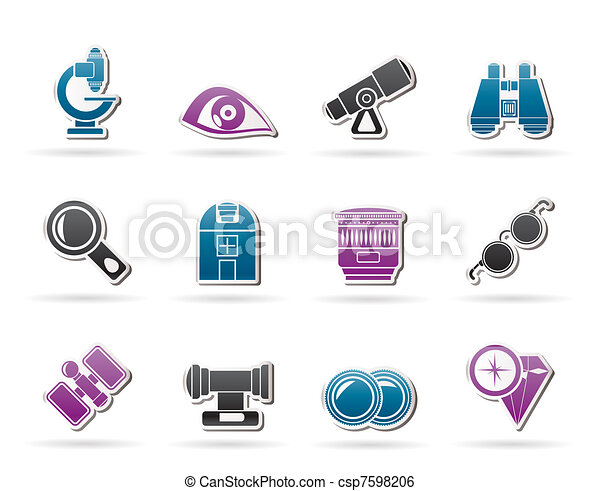 Optic and lens equipment icons - csp7598206