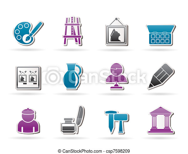 Fine art objects icons - csp7598209