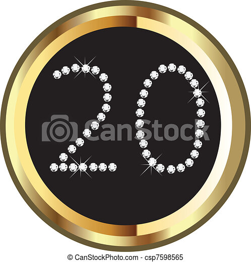 Clipart Vector of 20th anniversary birthday celebration vector ...