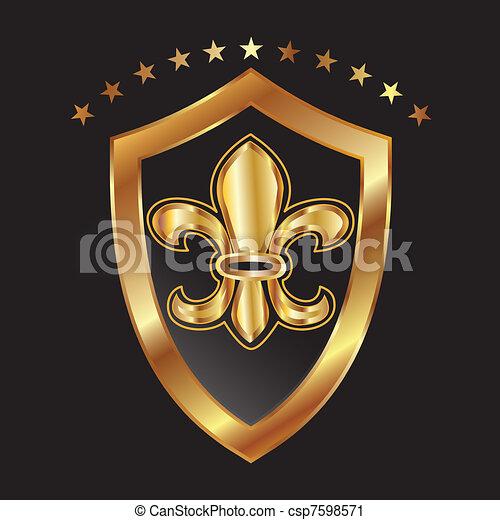 Golden glowing flour de lis - csp7598571