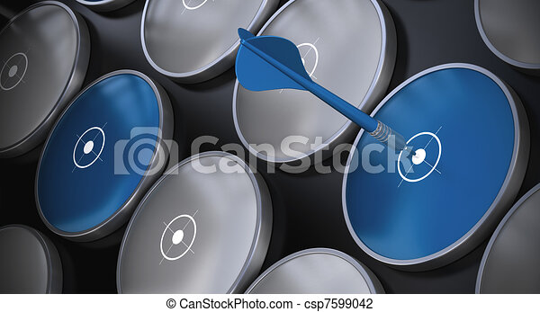 Grey and blue targets onto a black background. There is a blue dart hitting the center of one target - concept of business and marketing - csp7599042