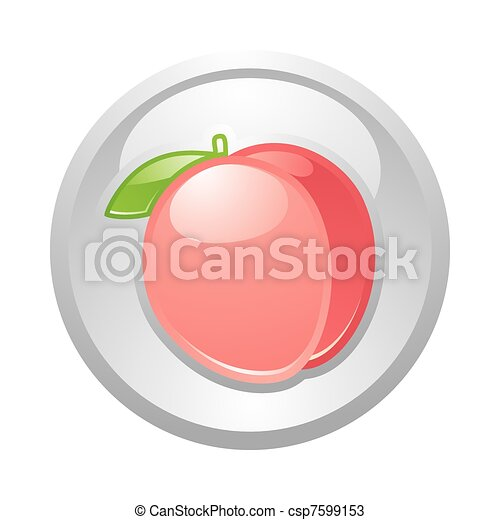 Gray button Peach, vector - csp7599153