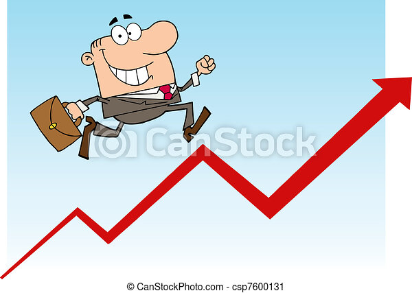 Businessman Running Upwards - csp7600131