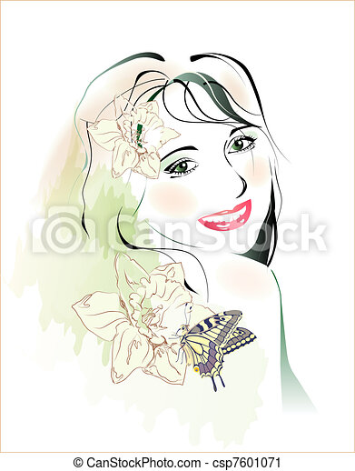 watercolor portrait of young girl with flowers and butterfly - csp7601071